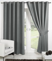 Panipat Textile Hub Polyester Grey Plain Eyelet Door Curtain(213 cm in Height, Pack of 2)