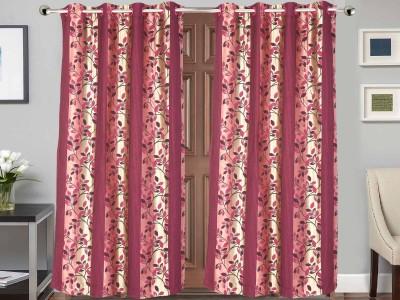 Vivace Homes Jacquard Multicolor Floral Eyelet Door Curtain