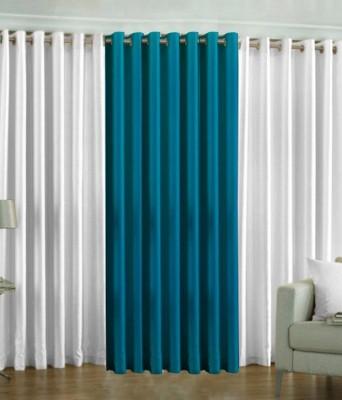 The Decor Hub Polyester White, Aqua Plain Eyelet Door Curtain