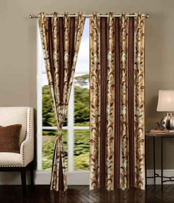 Click Weaves Polyester Brown Floral Eyelet Door Curtain
