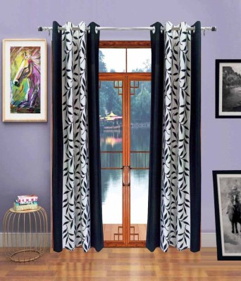 Swastik Polyester Black Floral Eyelet Door Curtain