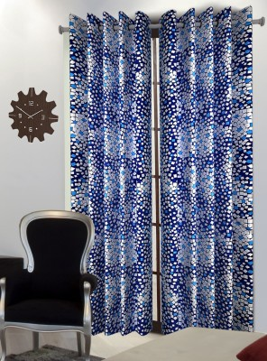 Home Blossoms Polyester Blue Floral Eyelet Window Curtain