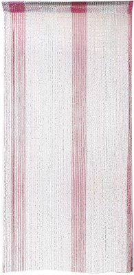 Ramcha Polyester Red Self Design Rod pocket Door Curtain