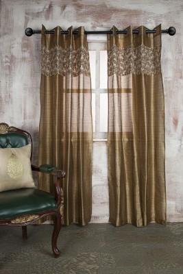 Marigold Polyester Beige Striped Eyelet Door Curtain