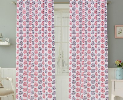 COLORS FOR LIVING Cotton Navy, Red Motif Concealed Tab Top Door Curtain