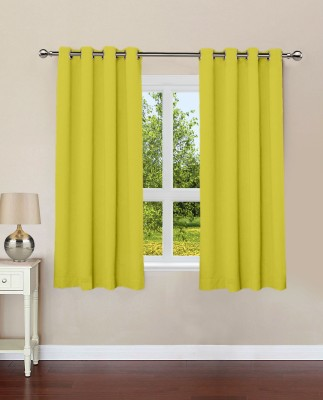 Lushomes Cotton Palm Plain Eyelet Window Curtain