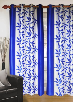 Madavs Polyester Blue Floral Eyelet Door Curtain