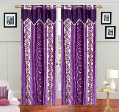 JH Polyester Purple Self Design Curtain Door Curtain