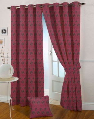 Presto Polyester Pink Embroidered Eyelet Door Curtain