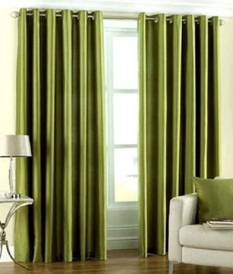 Z Decor Polyester Green Solid Eyelet Door Curtain