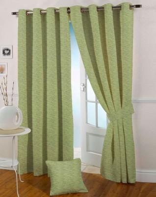 Presto Polyester Green Geometric Eyelet Window Curtain