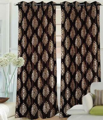 Optimistic Home Furnishing Polyester Brown Motif Eyelet Door Curtain