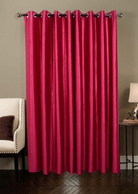 Jds Polyester Magenta Plain Ring Rod Door Curtain