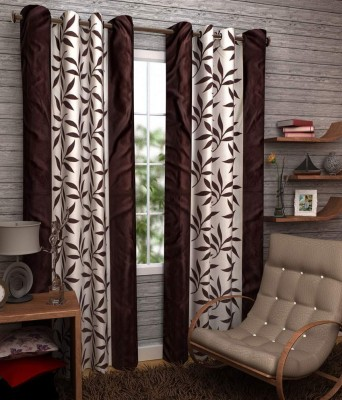 Angel Homes Polyester Brown Floral Eyelet Window Curtain