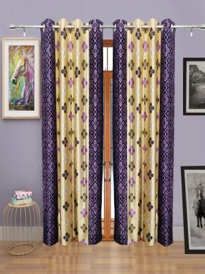 Sajawatt Polyester Purple, Gold Motif Eyelet Door Curtain
