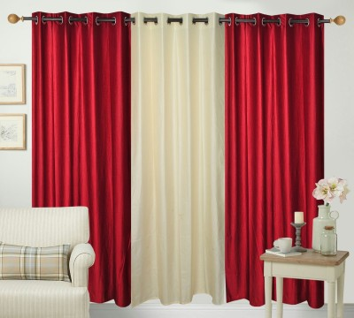 Shiv Fabs Polyester Multicolor Plain Ring Rod Window Curtain