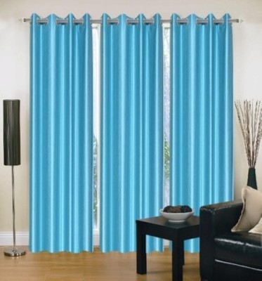 Chaitnya Handloom Polyester Blue Plain Eyelet Door Curtain