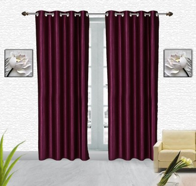 Comfort Zone Polyester Purple And Wine Solid Eyelet Door Curtain