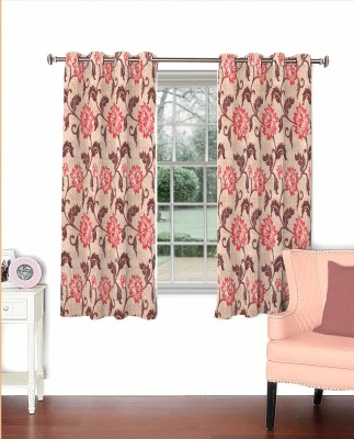 Curtainman Polyester Pink Floral Eyelet Window Curtain