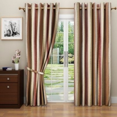 G M HomeFashion Polyester Multicolor Geometric Eyelet Door Curtain