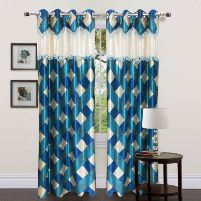 Homefab India Polyester Light Blue Checkered Eyelet Window Curtain