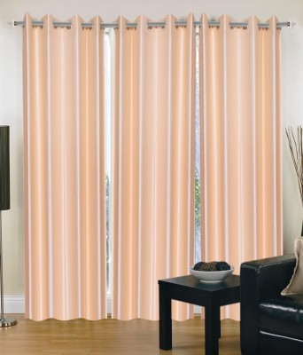 Hargunz Polycotton Beige Floral Eyelet Long Door Curtain