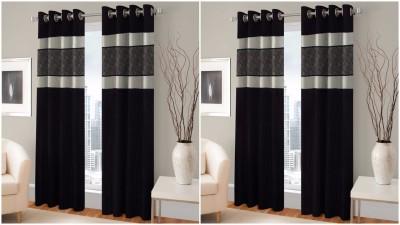 BSB Trendz Polyester Black Printed Eyelet Door Curtain