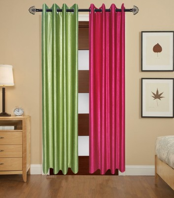 Home Fashion Gallery Polyester Green, Pink Plain Eyelet Door Curtain