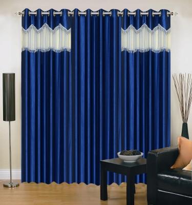 Swastik Polycotton Multicolor Plain Eyelet Window & Door Curtain