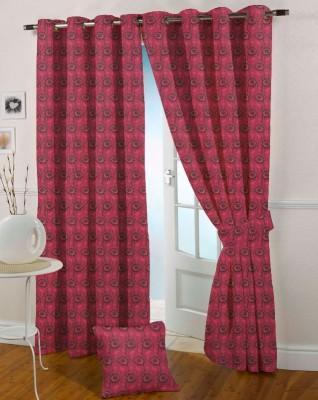 Presto Polyester Pink Solid Eyelet Long Door Curtain