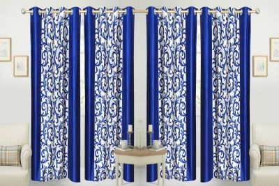 Handloom Hut Polyester Blue Floral Eyelet Window Curtain