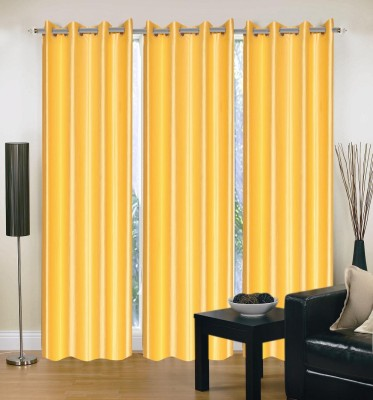 HandloomVilla Polyester Yellow Solid Eyelet Door Curtain
