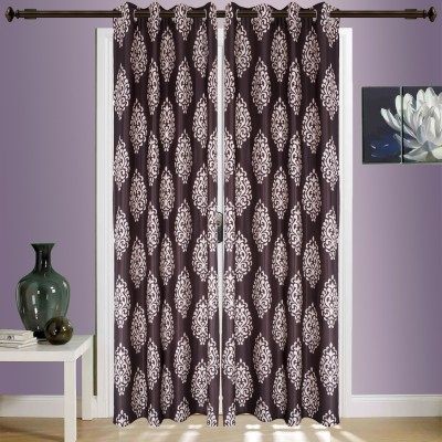 SWHF Cotton Brown Striped Eyelet Window & Door Curtain