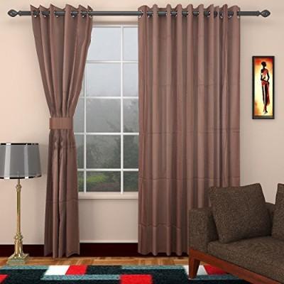 CPM HANDLOOM Cotton Brown Plain Eyelet Window & Door Curtain