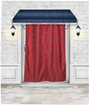 Lukluck Polycotton Red Floral Ring Rod Door Curtain