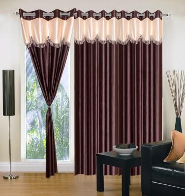 Maa Sharda Exports Polyester Brown Self Design Eyelet Long Door Curtain