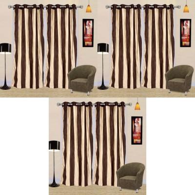 Go Decore Polycotton Multicolor Self Design Ring Rod Door Curtain