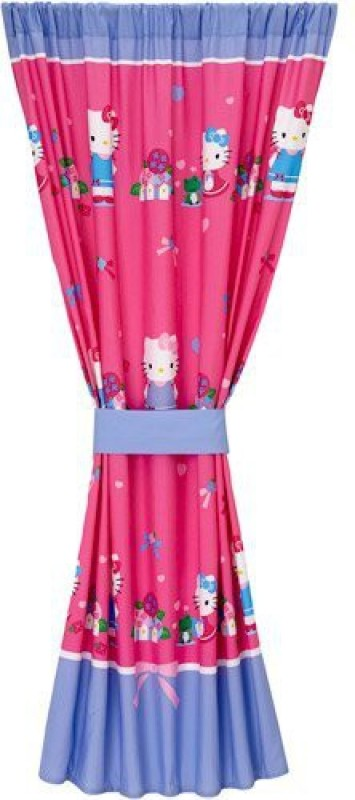 Sanrio Polyester Pink Plain, Printed Curtain Window Curtain(22.86 cm in Height, Single Curtain)