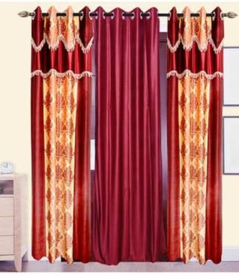 Swastik Polyester Multicolor Self Design Eyelet Door Curtain