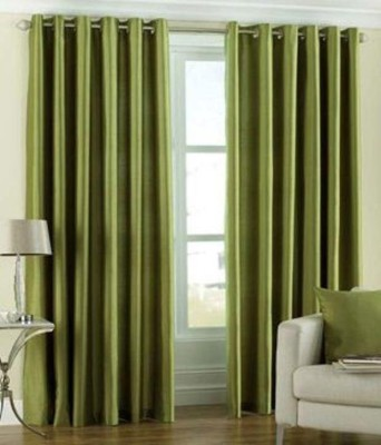 Shiv Fabs Polyester Green Solid Ring Rod Window Curtain
