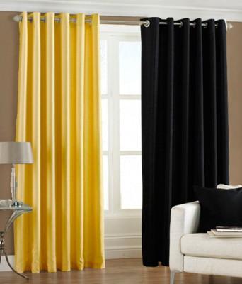 Maa Sharda Exports Polyester Multicolor Plain Eyelet Door Curtain