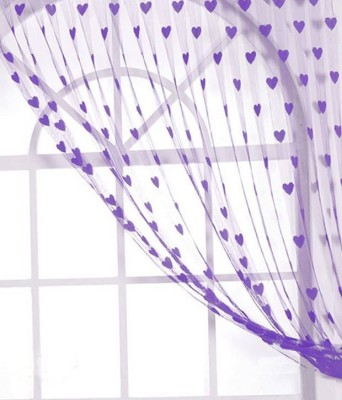 Shiv Fabs Polyester Purple Striped Eyelet Door Curtain