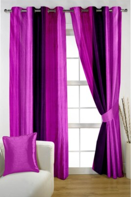 HOMEC Polyester Multicolor Striped Eyelet Window & Door Curtain