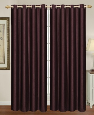 HomeTex Polycotton Brown Plain Eyelet Long Door Curtain