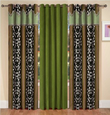 La elite Polyester Green Abstract Eyelet Window Curtain