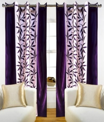 RedHot Polyester Purple Floral Eyelet Window Curtain