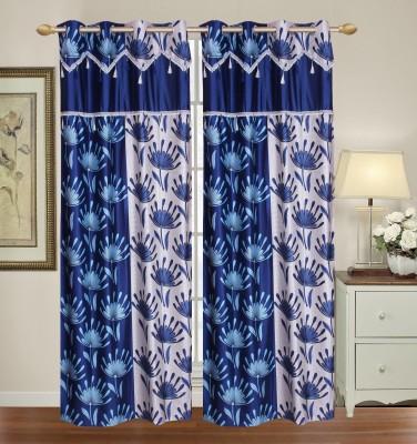 HomeTex Polycotton Dark Blue Plain Eyelet Long Door Curtain