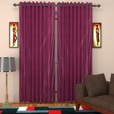 SurprizeMe Polyester Purple Solid Eyelet Window Curtain