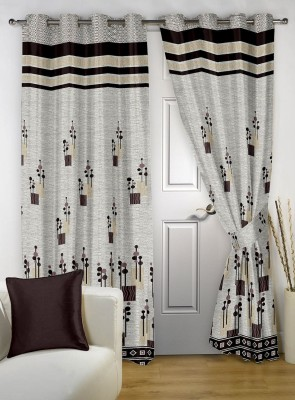 Jai Ganga Jacquard Multi-Colour Floral Curtain Window & Door Curtain