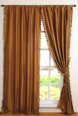 Deco Window Polyester Gold Printed Eyelet Window Curtain